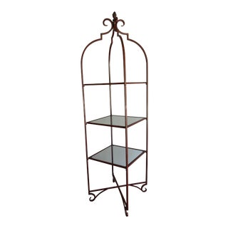 Three-Tier Metal and Glass Etagere