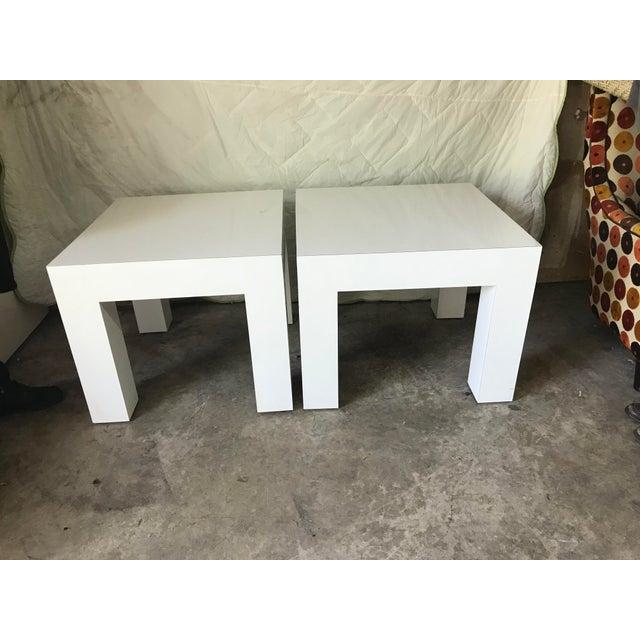 Vintage Mod White Laminate Parsons Tables - a Pair - Image 2 of 5