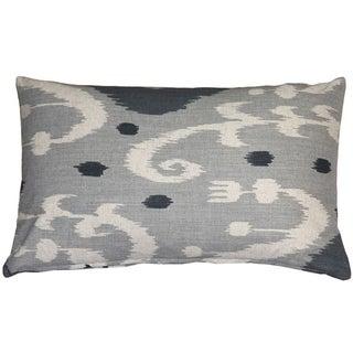 Pillow Decor - Indah Ikat Gray 12x20 Throw Pillow