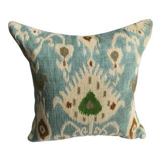 Beaded Aqua Ikat Pillow