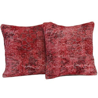 Red Handmade Over-Dyed Rug Pillows - Pair -18''