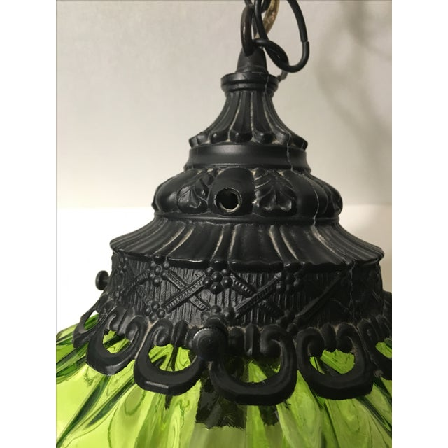 Mid-Century Green Glass Hanging Swag Lamp - Image 3 of 7