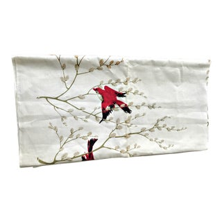 Red Birds on Branches Linen Tablecloth