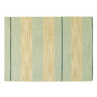 "Apadana Gold & Green Striped Dhurrie - 4'3""x5'10"""