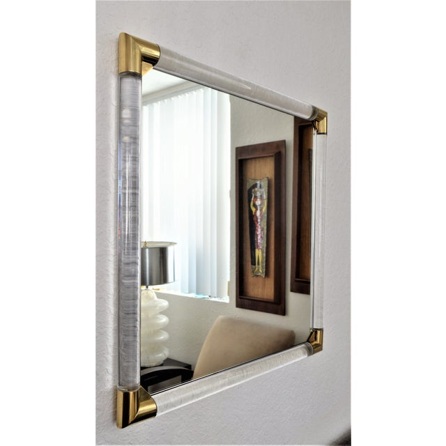 Mid-Century Modern Lucite & Brass Wall Mirror Charles Hollis Jones Style - Image 5 of 11