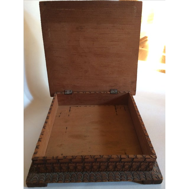 Vintage Carved Box With Peacock on Painted Lid - Image 7 of 8
