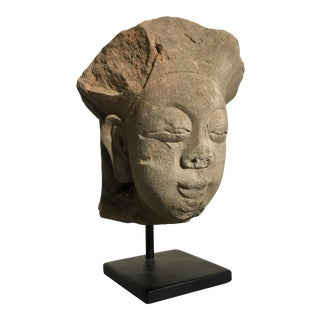 Chinese Ming Dynasty Carved Stone Head of a Taoist Heavenly Official