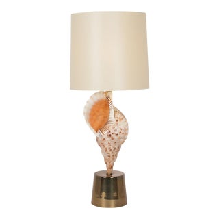 Large Mounted Seashell Table Lamp by Charles et Cie, French 1970s