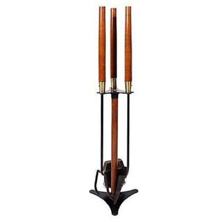 Brass & Teak Fire Tools - Set of 3