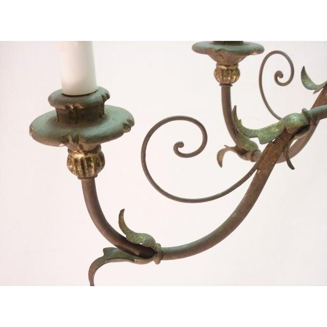 Italian Painted Iron & Wood Chandelier - Image 7 of 8
