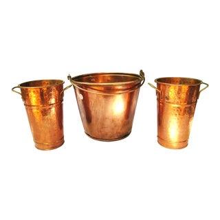 Copper Pail Planters or Vases - Set of 3