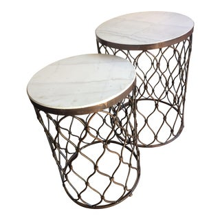 Marble Topped Metal Side Tables - Set of 2