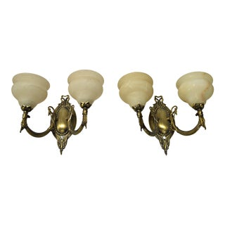 Two Light German Brass & Alabaster Sconce - Pair