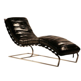 Aged Black Leather Chaise Lounge