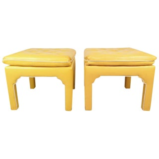 Mid-Century Modern Parsons Style Ottoman Benches - a Pair