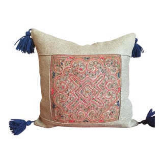 Vintage Applique Textile Lao Pillow With Tassels