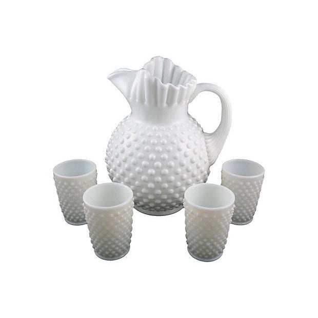 Fenton Hobnail Milk Glass Beverage Service - 5 - Image 1 of 6