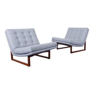 Vintage Milo Baughman Tufted Walnut Lounge Chairs - a Pair
