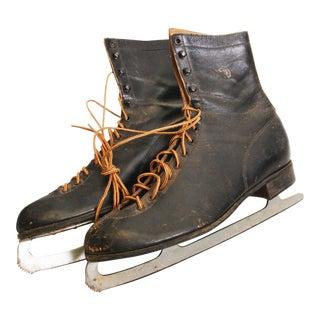 Vintage Weathered Black Leather Ice Skates