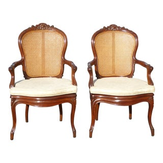 Vintage French Provincial Style Cane Back Armchairs - A Pair