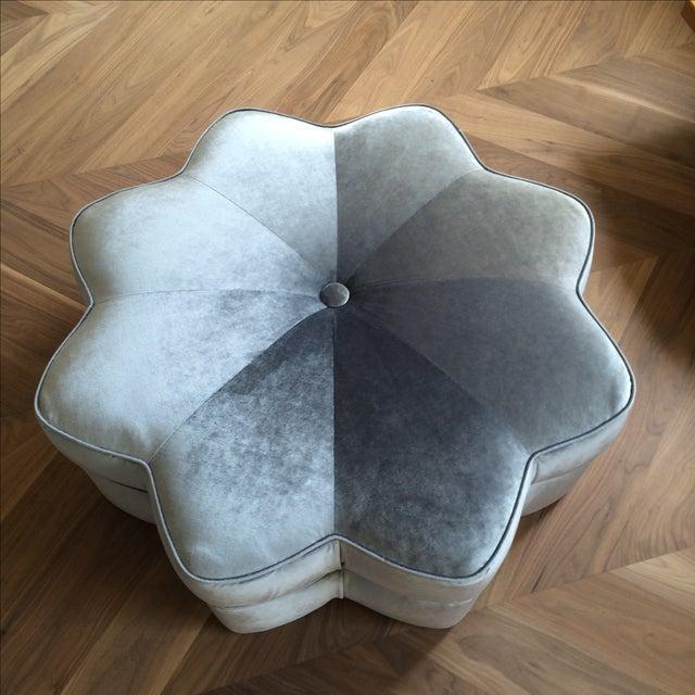 Vintage Silver Plush Velvet Star Ottoman - Image 8 of 9