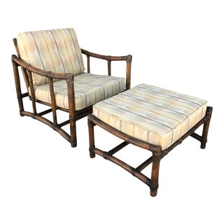 Vintage McGuire Bamboo and Linen Upholstered Lounge Chair & Ottoman