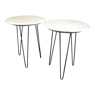 Mid-Century Modern White Marble Tables - A Pair