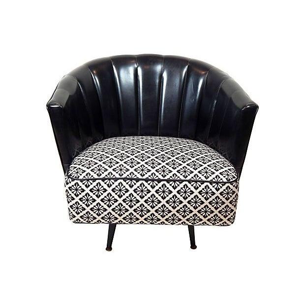 Black & White Swivel Club Chair - Image 1 of 3
