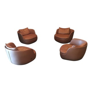 Moooi Leather Swivel Chairs - Set of 4