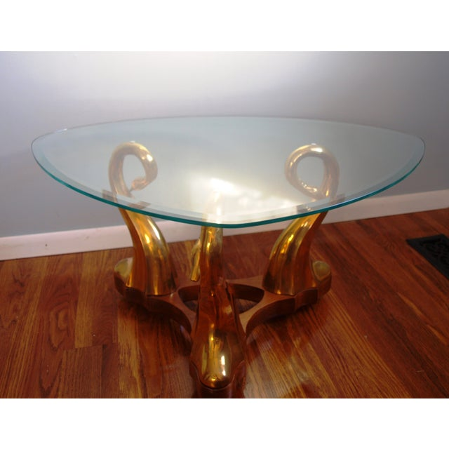Glass Coffee Table Brass Base: Brass Swan & Glass Coffee Table