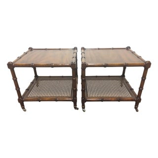 Vintage Faux Bamboo & Cane Side Tables - A Pair