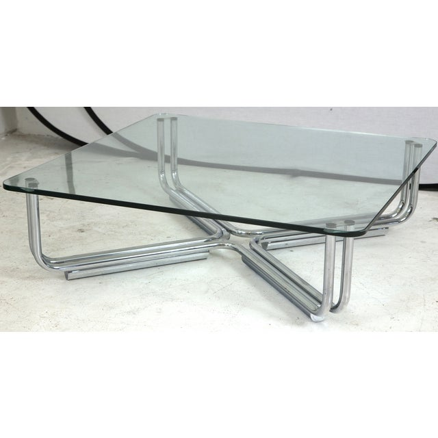 Tubular Chrome Coffee Table: Gianfranco Frattini Cassina Tubular Coffee Table