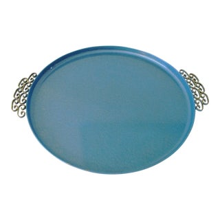 Mid-Century Kyes Moire Sea Blue Tray