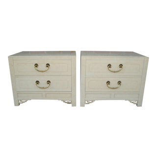 Chinoiserie Bed Nightstands by White - a Pair