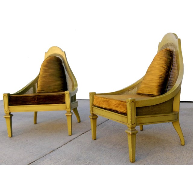 Mid-Century Green Cane Slipper Chairs - A Pair - Image 2 of 10