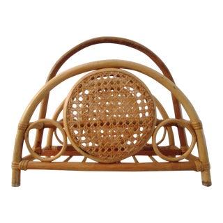 Mid-Century Bamboo & Rattan Magazine Rack
