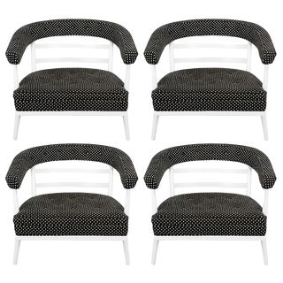 Four Bert England White Lacquer & Black Polka Dot Lounge Chairs