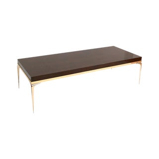 CF Modern Custom Brass Banded Stiletto Coffee or Cocktail Table.