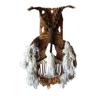 Vintage Knit Woven Pom Pom Art Wall Hanging