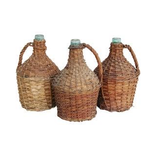 French Wicker Demijohn Bottles - Set of 3