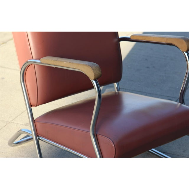 Postmodern Deco Style Chrome Lounge Chair in Mauve - Image 8 of 9