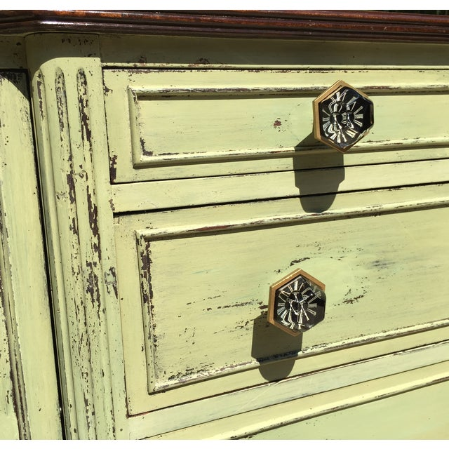 Vintage Green Milk Paint Buffet Sideboard Credenza - Image 5 of 11