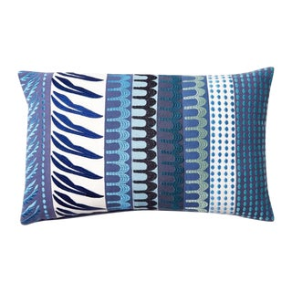 Embroidered Blue Patchwork Pillow