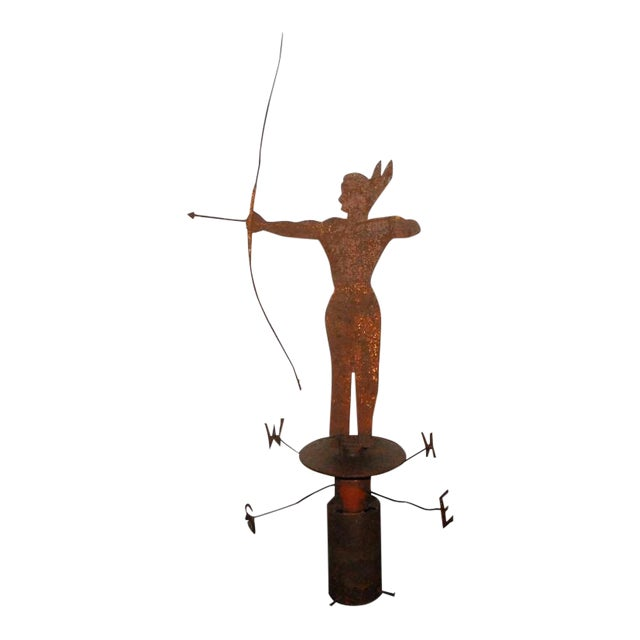 Rare 19th Century Original Painted Iron Indian Weathervane with Stand - Image 1 of 9