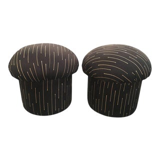 Vintage 1970s Retro Mushroom Poufs Ottoman Stools - A Pair