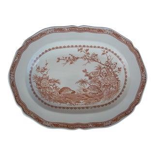 English Quail Motif Oval Platter