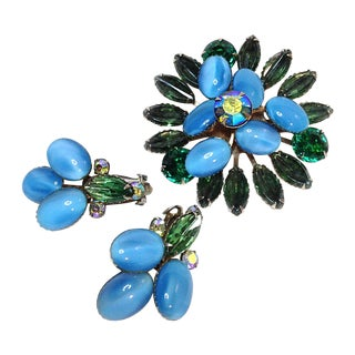 Blue & Green Glass Brooch & Earring Set