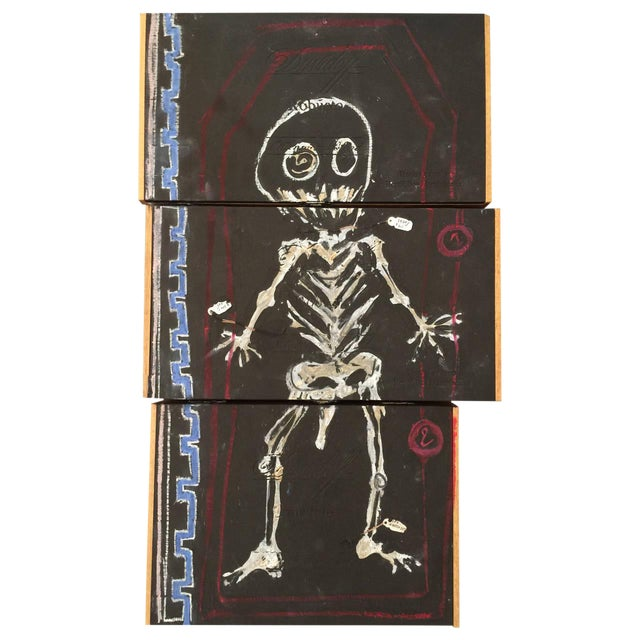 Basquiat Inspired Mixed Media Cigar Box Wall Art - Image 1 of 4