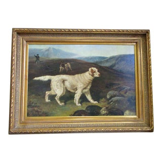 Antique Painting of A Hunting Dog