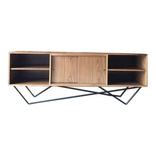 Custom Walnut Wrought Iron Base Sculptural Credenza
